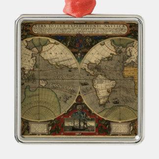 Mapa de Vera Totius Expeditionis Adorno Cuadrado Plateado