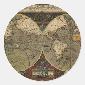 Mapa de Vera Totius Expeditionis Pegatina Redonda