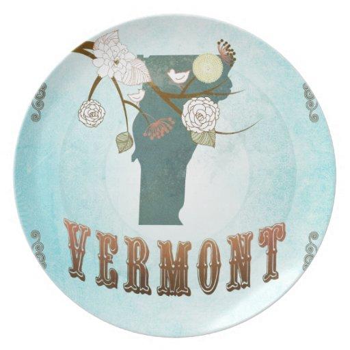 Mapa de Vermont con los pájaros preciosos Plato Para Fiesta