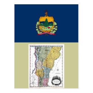 Mapa de Vermont y bandera del estado Postal