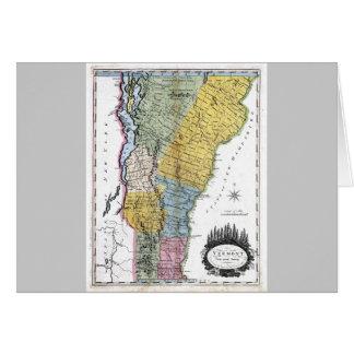 Mapa de Vermont y bandera del estado Tarjeta De Felicitación