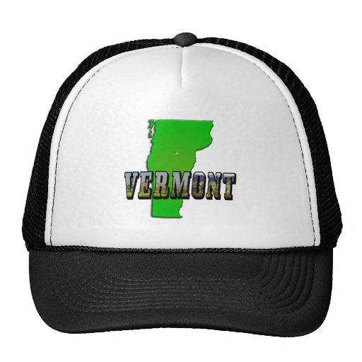 Mapa de Vermont y texto de la imagen Gorras