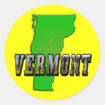 Mapa de Vermont y texto de la imagen Pegatina Redonda