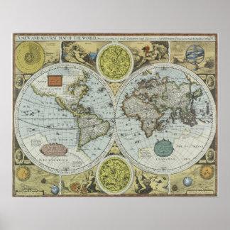 Mapa de Viejo Mundo 1626 - viaje antiguo Póster