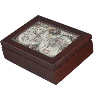 Mapa de Viejo Mundo 1630 Caja De Recuerdos