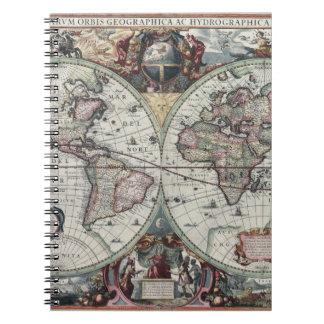 Mapa de Viejo Mundo 1630 Libro De Apuntes Con Espiral