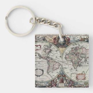 Mapa de Viejo Mundo 1630 Llavero Cuadrado Acrílico A Doble Cara