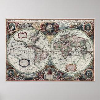 Mapa de Viejo Mundo 1630 Poster