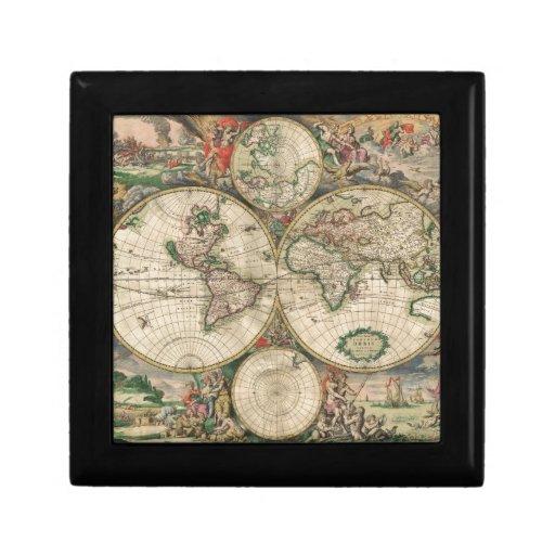 Mapa de Viejo Mundo 1689 Cajas De Recuerdo