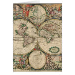 Mapa de Viejo Mundo 1689 Felicitación