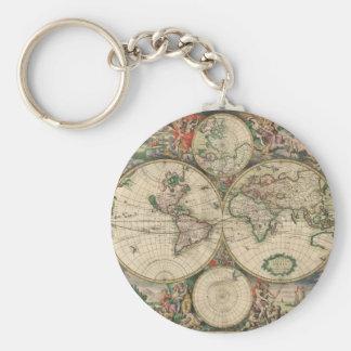 Mapa de Viejo Mundo 1689 Llavero Personalizado
