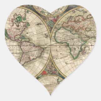 Mapa de Viejo Mundo 1689 Pegatina En Forma De Corazón