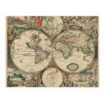 Mapa de Viejo Mundo 1689 Postal