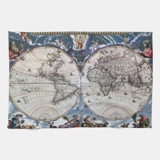 Mapa de Viejo Mundo antiguo 1664 restaurado Toallas De Mano