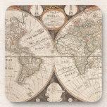 Mapa de Viejo Mundo antiguo 1799 Posavaso