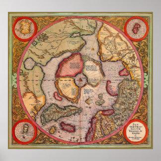 Mapa de Viejo Mundo antiguo, ártico Polo Norte, 15 Impresiones