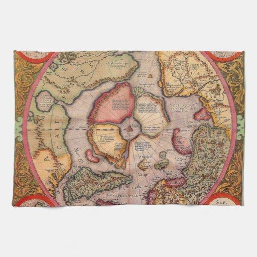 Mapa de Viejo Mundo antiguo, ártico Polo Norte, 15 Toalla De Cocina