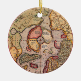 Mapa de Viejo Mundo antiguo, ártico Polo Norte, Adorno Redondo De Cerámica