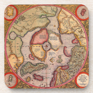Mapa de Viejo Mundo antiguo, ártico Polo Norte, Posavasos