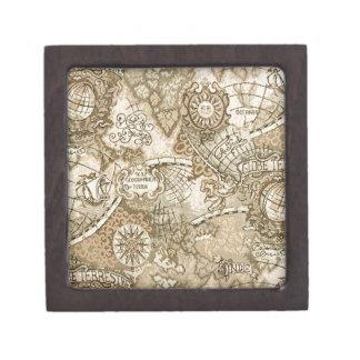 Mapa de Viejo Mundo antiguo Caja De Joyas De Calidad