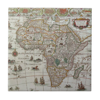 Mapa de Viejo Mundo antiguo de África, C. 1635 Azulejo Cuadrado Pequeño