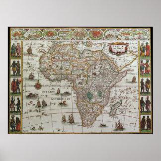 Mapa de Viejo Mundo antiguo de África, C. 1635 Póster