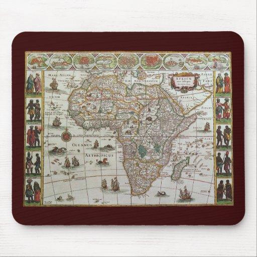 Mapa de Viejo Mundo antiguo de África, C. 1635 Alfombrillas De Raton
