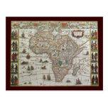 Mapa de Viejo Mundo antiguo de África, C. 1635 Tarjetas Postales