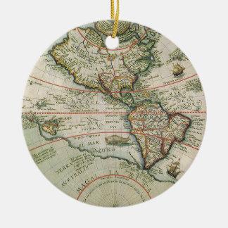 Mapa de Viejo Mundo antiguo de las Américas, 1597 Adorno Redondo De Cerámica