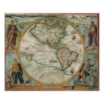 Mapa de Viejo Mundo antiguo de las Américas, 1597 Impresiones