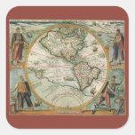 Mapa de Viejo Mundo antiguo de las Américas, 1597 Pegatinas Cuadradases Personalizadas