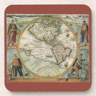 Mapa de Viejo Mundo antiguo de las Américas, 1597 Posavasos De Bebida