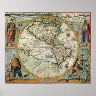 Mapa de Viejo Mundo antiguo de las Américas, 1597 Póster