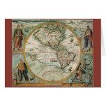 Mapa de Viejo Mundo antiguo de las Américas, 1597 Tarjeta