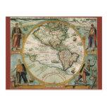 Mapa de Viejo Mundo antiguo de las Américas, 1597 Tarjetas Postales