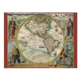 Mapa de Viejo Mundo antiguo de las Américas, 1597 Postal