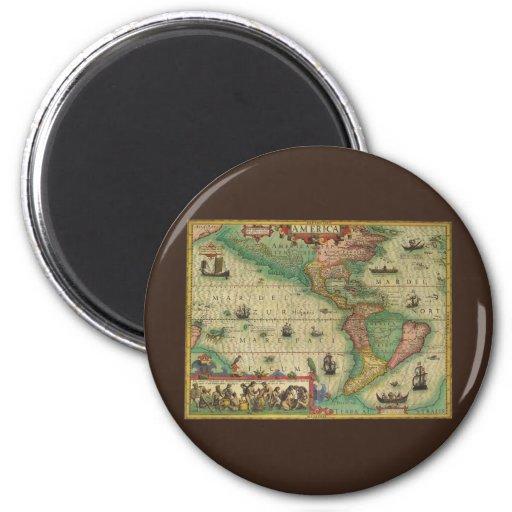 Mapa de Viejo Mundo antiguo de las Américas, 1606 Imán Redondo 5 Cm
