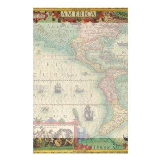 Mapa de Viejo Mundo antiguo de las Américas, 1606 Papelería De Diseño