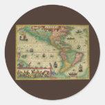 Mapa de Viejo Mundo antiguo de las Américas, 1606 Etiqueta Redonda