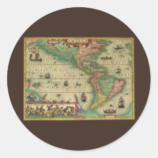 Mapa de Viejo Mundo antiguo de las Américas, 1606 Pegatina Redonda