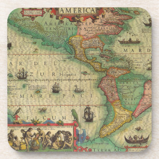 Mapa de Viejo Mundo antiguo de las Américas, 1606 Posavasos De Bebidas
