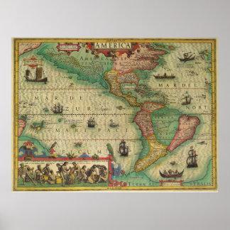 Mapa de Viejo Mundo antiguo de las Américas, 1606 Póster