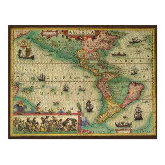 Mapa de Viejo Mundo antiguo de las Américas, 1606 Postales