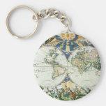Mapa de Viejo Mundo antiguo del vintage, 1666 por Llavero Redondo Tipo Pin