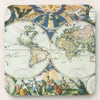 Mapa de Viejo Mundo antiguo del vintage, 1666 por Posavasos