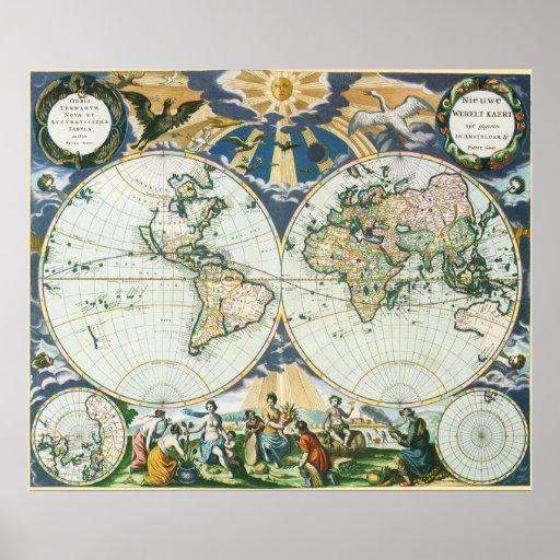 Mapa de Viejo Mundo antiguo del vintage, 1666 por Póster