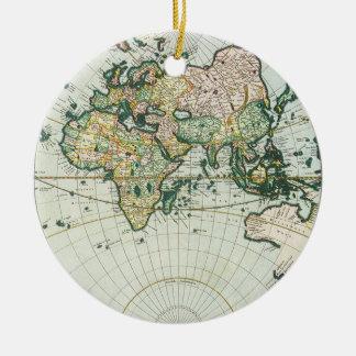 Mapa de Viejo Mundo antiguo del vintage por las Adorno Redondo De Cerámica