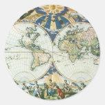Mapa de Viejo Mundo antiguo del vintage por las Etiquetas Redondas