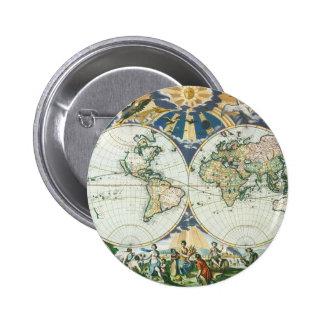 Mapa de Viejo Mundo antiguo del vintage por las Pin Redondo 5 Cm