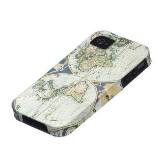 Mapa de Viejo Mundo antiguo del vintage por las su Case-Mate iPhone 4 Carcasas